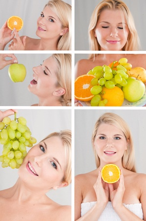 Collage. beautiful healthy woman with many fresh fruits photo