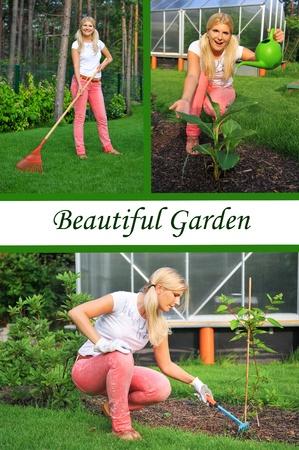 Collage. Beautiful casual woman gardening Stock Photo - 9678383