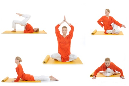 collage yoga photos. young woman doing yoga exercises photo