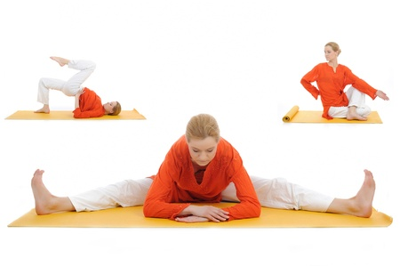 collage yoga photos. young woman stretching photo