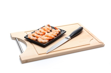 fresh shrimps on wooden board isolated. sushi ingredient Stock Photo - 11079808