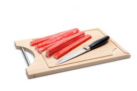 red crab stick on wooden board. sushi ingredients Stock Photo - 11079813