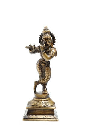 statuette: Ancient indian figure of Krishna God isolated  Stock Photo