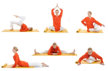 collage yoga photos. young woman doing yoga exercises Stock Photo - 11079780
