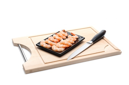 fresh shrimps on wooden board isolated. sushi ingredient Stock Photo - 11257393