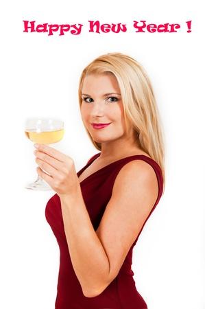 Beautiful woman celebrating new year. isolated Stock Photo - 11257421
