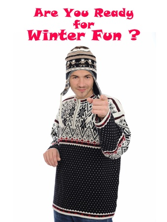 Funny winter man in warm hat and clothes Stock Photo - 11257425