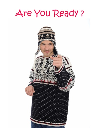 Funny winter man in warm hat and clothes Stock Photo - 11423207