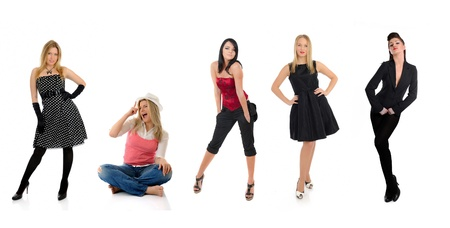 group of beautiful elegant woman and one crazy girl sitting photo