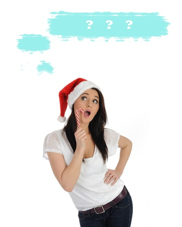 pretty casual woman in red christmas hat. isolated  photo