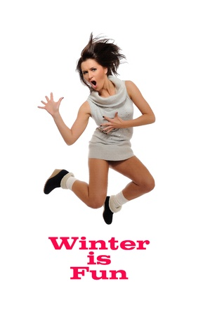 Dynamic beautiful wild winter woman jumping and screaming. isolated on white background photo