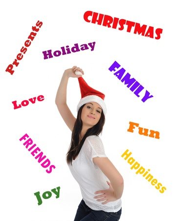 Funny pretty casual santa claus woman with red christmas hat. isolated on white background photo