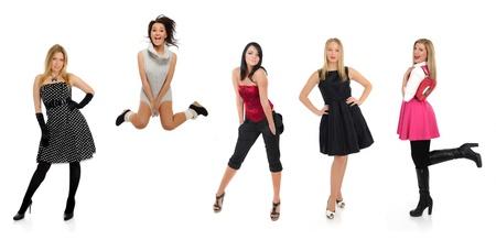 csoport, gyönyörű nő, és egy őrült lány ugrás
