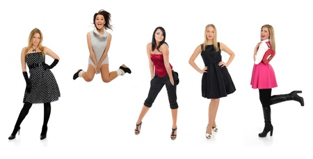 group of beautiful woman and one crazy girl jumping photo