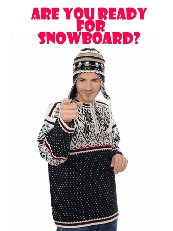 snowboard. Funny winter man in warm hat and clothes photo