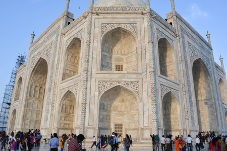 Three types of inlay are used to ornament the buildings of the Taj complex. Stone intarsia, whereby colored marbles are inlaid into easily workable sandstone, is the most basic type of inlay. Editorial