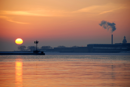 winter sunrise: Winter sunrise on Lake Michigan, Navy Pier, Chicago downtown, Illinois