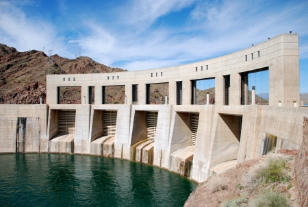 Parker Dam on the border of California and Arizona, Lake Havasu and Colorado river, the view from Colorado river side