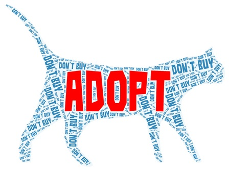 Adopt a cat blue word cloud with big red Adopt isolated on a white background Ilustracja