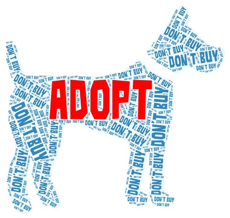 Adopt a dog blue word cloud with Adopt in red isolated on a white background