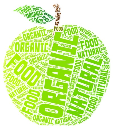 Organic and natural green apple word cloud isolated on a white background
