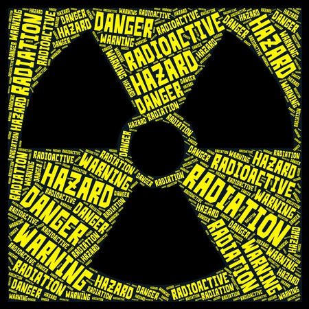 Radiation symbol word cloud. Yellow words on negative black background.