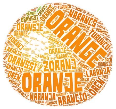 Orange fruit word cloud made of word orange translated to multiple languages.