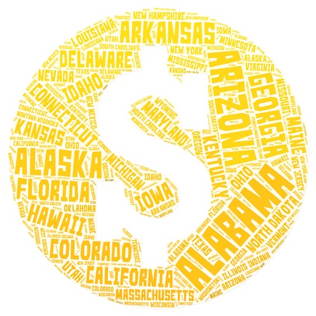 US Dollar symbol. Yellow, orange, golden. Word cloud made of names of all American states.