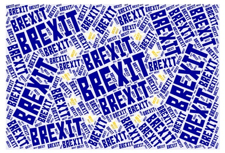 European Union Flag word cloud made of repeating word brexit.