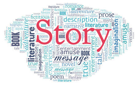 Story word cloud isolated on a white background