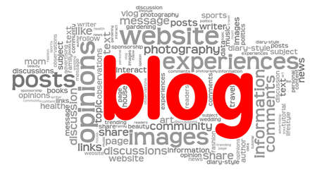 Blog word cloud isolated on a white background