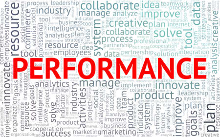 Performance word cloud isolated on a white background Stock Illustratie