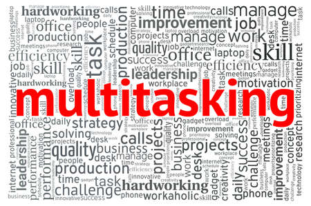 Multitasking word cloud isolated on a white background