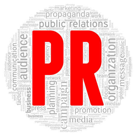 Public relations - PR word cloud isolated on a white background Ilustración de vector