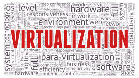 Virtualization word cloud isolated on a white background Illustration