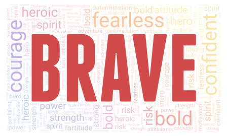 Brave word cloud isolated on a white background