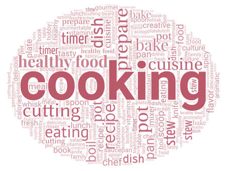 Cooking word cloud isolated on a white background