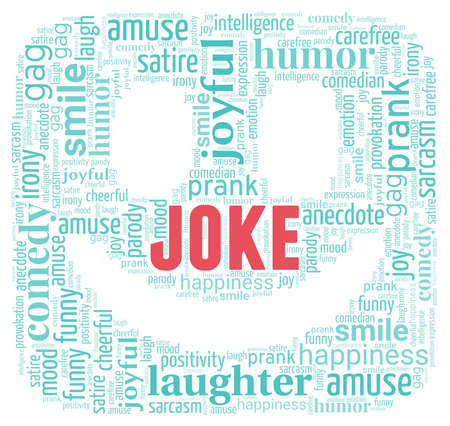Joke word cloud isolated on a white background