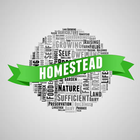 Homestead green ribbon word cloud on a grey gradient background.