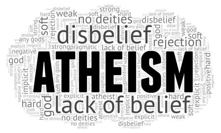 Atheism word cloud isolated on a white background Illustration