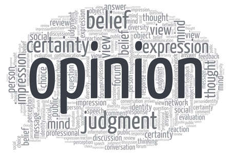Opinion word cloud isolated on a white background