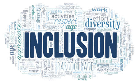 Inclusion word cloud isolated on a white background. Vetores
