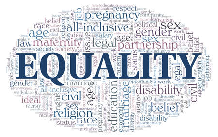Equality word cloud isolated on a white background Vetores