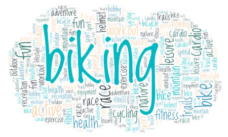 Biking word cloud isolated on a white background Çizim