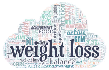 Weight loss word cloud isolated on a white background. 矢量图像