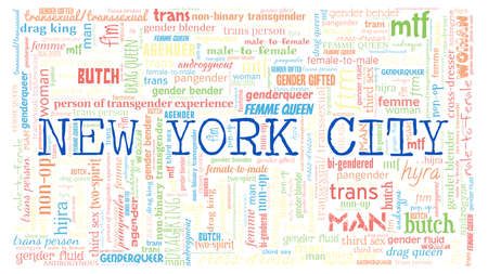 New York City 31 genders word cloud isolated on a white background Illustration