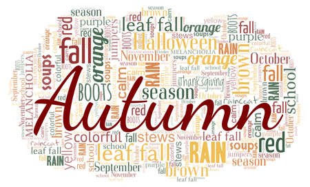 Autumn season word cloud isolated on a white background Vecteurs