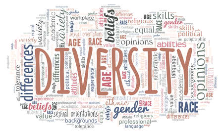 Diversity word cloud isolated on a white background.
