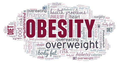 Obesity word cloud isolated on a white background