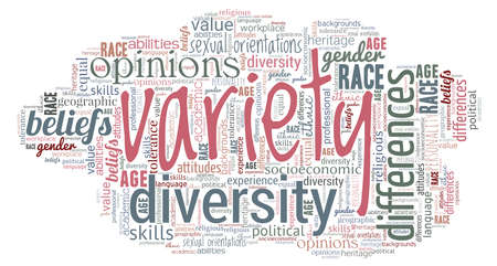 Variety word cloud isolated on a white background.